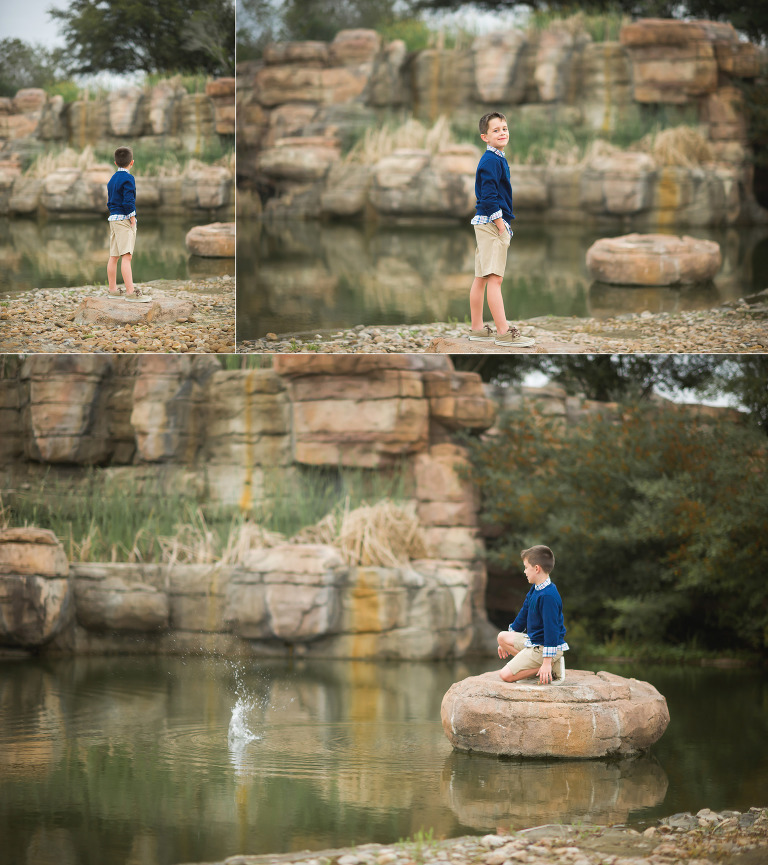 Boy adventures in water and rock. Houston photography