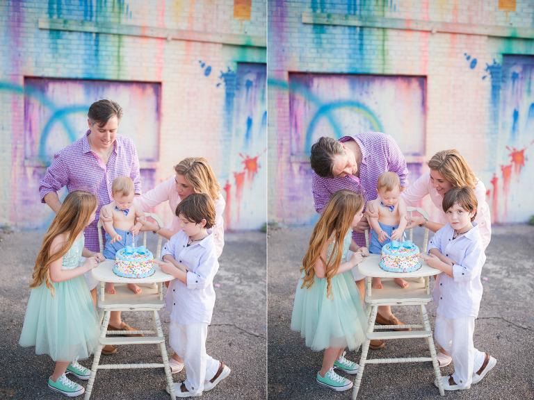 Family of five celebrating cake smash in Houston.